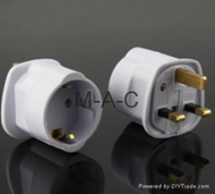 3 Pin 13 Amp UK To Euro Travel Adapter Plug