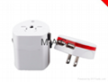 high quality world travel adaptor with 2 usb charger