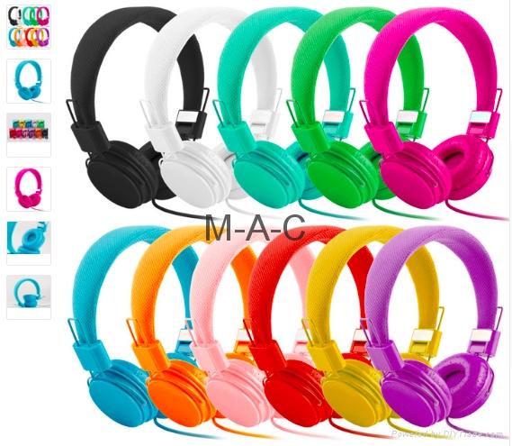 3.5mm Cartoon Earphone Pink Headset Dj Headphone For Girls Kids With Mic