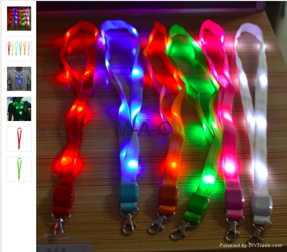 LED Light Up Neck Strap Band Lanyard key chain ID Badge Hanging Lace Rope Unique 1