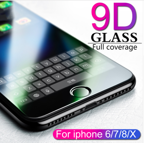 9D protective glass for iPhone 6 6S 7 8 plus X