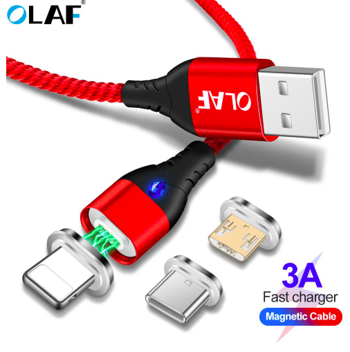 5A LED For Lightning Magnetic Cable Micro USB Type C Cable For iPhone Samsung