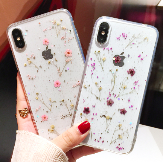 Real Flowers Dried Flowers Transparent Soft TPU Cover For iPhone X 6 6S 7 8 plu