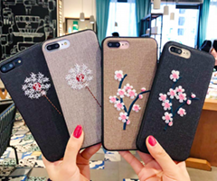 Embroidery Phone Case For Samsung Galaxy Note 8 S8 Cases Retro Fabric Rose Flowe