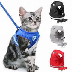 Reflective Cat Harness And Leash Set Nylon Mesh Kitten Puppy Dogs Vest Harness