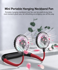 Mini Portable Hanging Neckband Fan USB Rechargeable Double Fans Air Cooler Condi