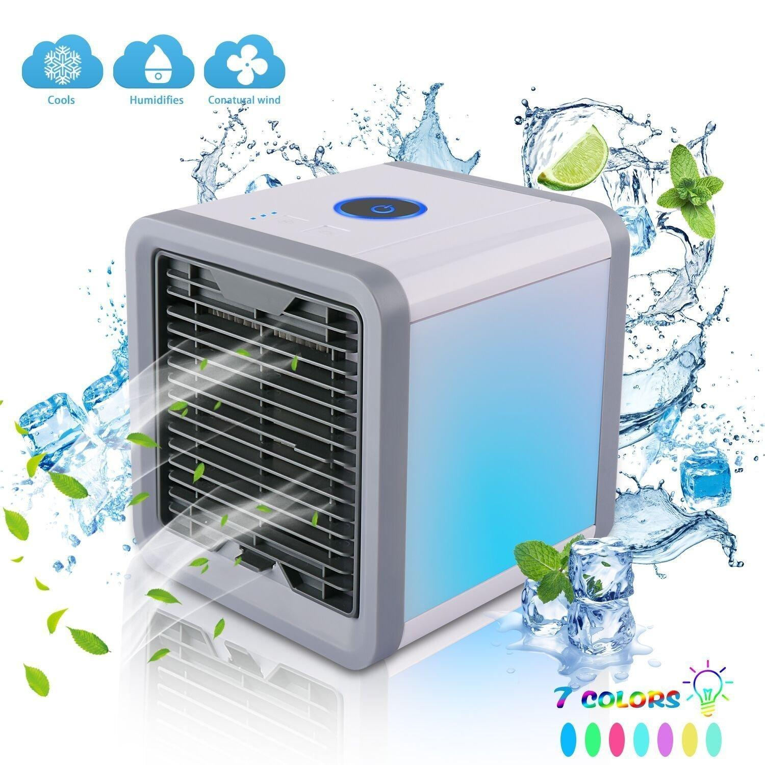 Mini USB Portable Air Cooler Fan Air Conditioner 7 Colors Light Desktop Air Cool