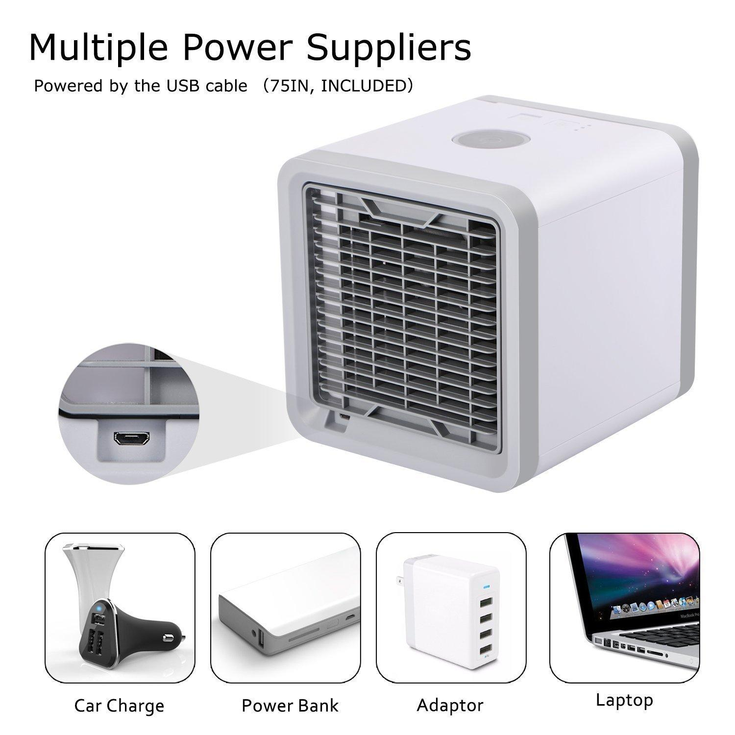 Mini USB Portable Air Cooler Fan Air Conditioner 7 Colors Light Desktop Air Cool 3