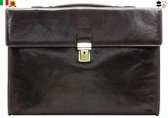 Dark Brown Genuine Leather Briefcase Laptop Bag