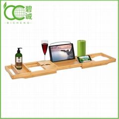Bathroom Furniture Eco-Friendly Bamboo Bathtub Caddy Tray with Extending Sides