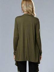 Green Fashion Open Stitch Outerwear