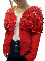 Red Fashion Sequins Outerwear Coat