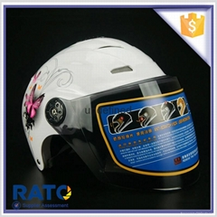 China wholesale cheap white pink cartoon half face motorcycle helmet
