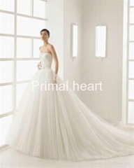 2017 Strapless a line wedding dress with long train