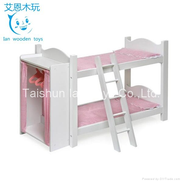 Sweet Style Wooden Doll Bunk Bed with Wardrobe 1