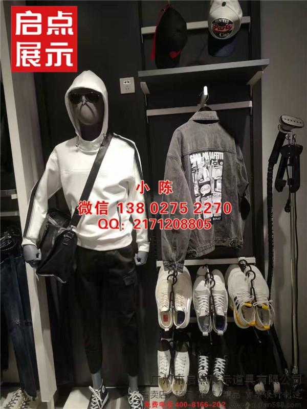 江西實木鐵藝結合的江南布衣服飾貨架 2