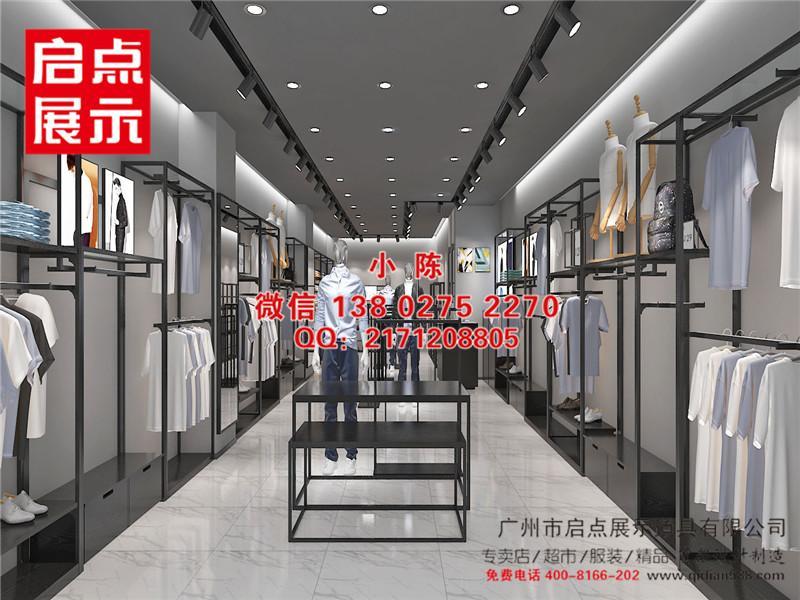 江西實木鐵藝結合的江南布衣服飾貨架 4