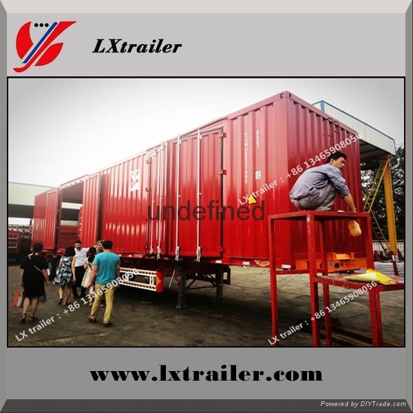 Shandong liangshan 40ton 3 Axles box type semi trailer 5