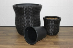 Set of 2 round poly rattan planters CH2902A/2DCH0054