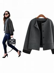 Women Fashion Grey Green Slim Button Short Coat