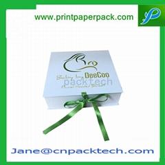 Custom Printed Fashion Ribbon Box Rigid Paper Gift Box