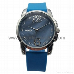 Alloy Fashion 3 hands Analog Man Silicone Wristband Watch, SMT-1507