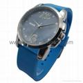 Alloy Fashion 3 hands Analog Man Silicone Wristband Watch, SMT-1507   2