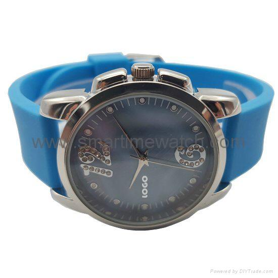 Alloy Fashion 3 hands Analog Man Silicone Wristband Watch, SMT-1507   3