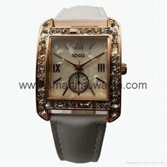 玫瑰金色合金殼水鑽時尚手錶 SMT-1510