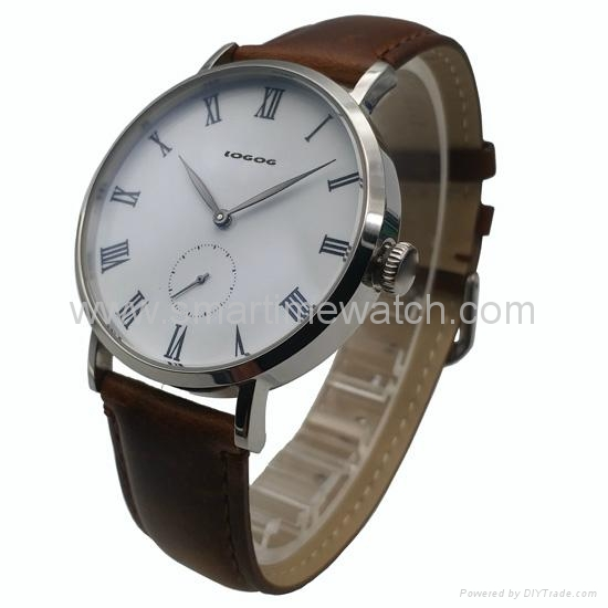 Stainless Steel Real Leather Strap Fashion Watch SMT-1008 2