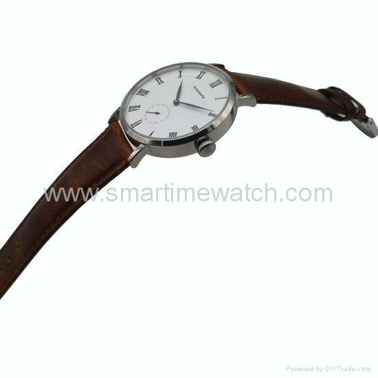 Stainless Steel Real Leather Strap Fashion Watch SMT-1008 3