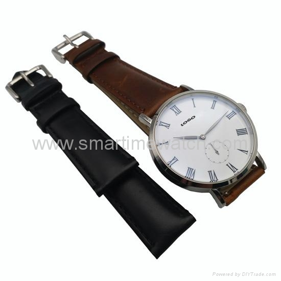 Stainless Steel Real Leather Strap Fashion Watch SMT-1008 6