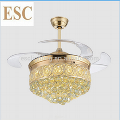 70W 220V Decorative Crystal ceiling fan with led light with hidden blades