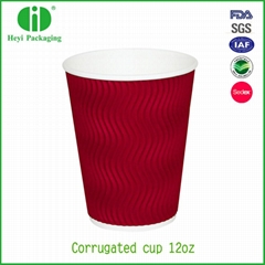 ISO9001 certificated take away ripple wall paper coffee cups