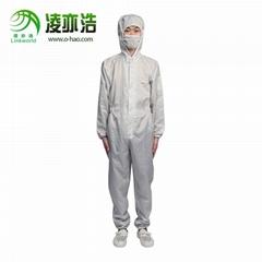 廣東防靜電服廠家凌亦浩供應連帽連體防靜電服