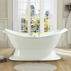 pedestal cast iron double slipper bathtub