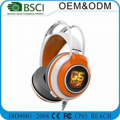 Wired Stereo Headphone pc gaming headset Stereo Micphone with led lamp