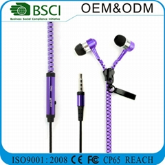 Zipper Earbuds Stereo Handsfree Earbud with Custom Puller for Gifts