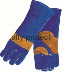 NEW design welding gloves with split cowhide leather reinforced palm and thumb