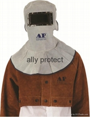 Gray  split cowhide leather Welding Safety Face shield