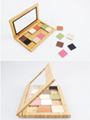 Cosmetic bamboo eye shadow box and color palette