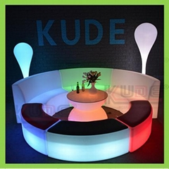 Outdoor PE Table and Chair LED Patio Garden Furniture