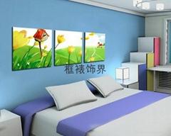 花卉三聯畫裝飾畫