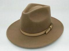 fashion camel men wool felt hat fedora with leather belt