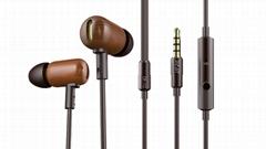 新款Android IOS 通用手机耳机文艺风木质耳机