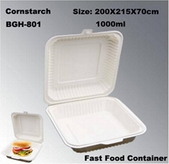 Cornstarch Disposable Take out Lunch Box 1000ml Eco-Friendly Tableware