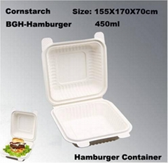 Corn Starch Tableware Biodegradable Tableware Eco-Friendly Hamburger Box 450ml