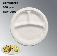 100% Biodegradable Cornstarch Tableware Disposable Plate 9 Inches