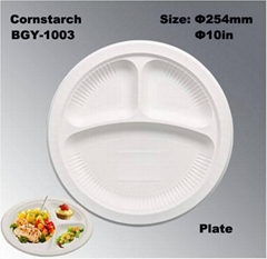 Biodegradable  Cornstarch Tableware China Made Disposable Eco-Friendly Plate