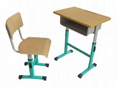 供應單人鋼木學生課桌椅
